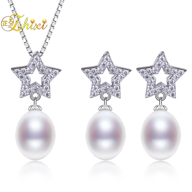 ZHIXI Natural Fresh Water Pearl Jewelry Set Fine Jewelry Real Pearl Necklace Earrings Women Trendy Anniversary Gift Star T230