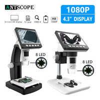 Antscope 1000X4.3 pouces HD 1080 P Portable bureau LCD Microscope numérique 8 réglable LED Microscope avec support Microscopio 30