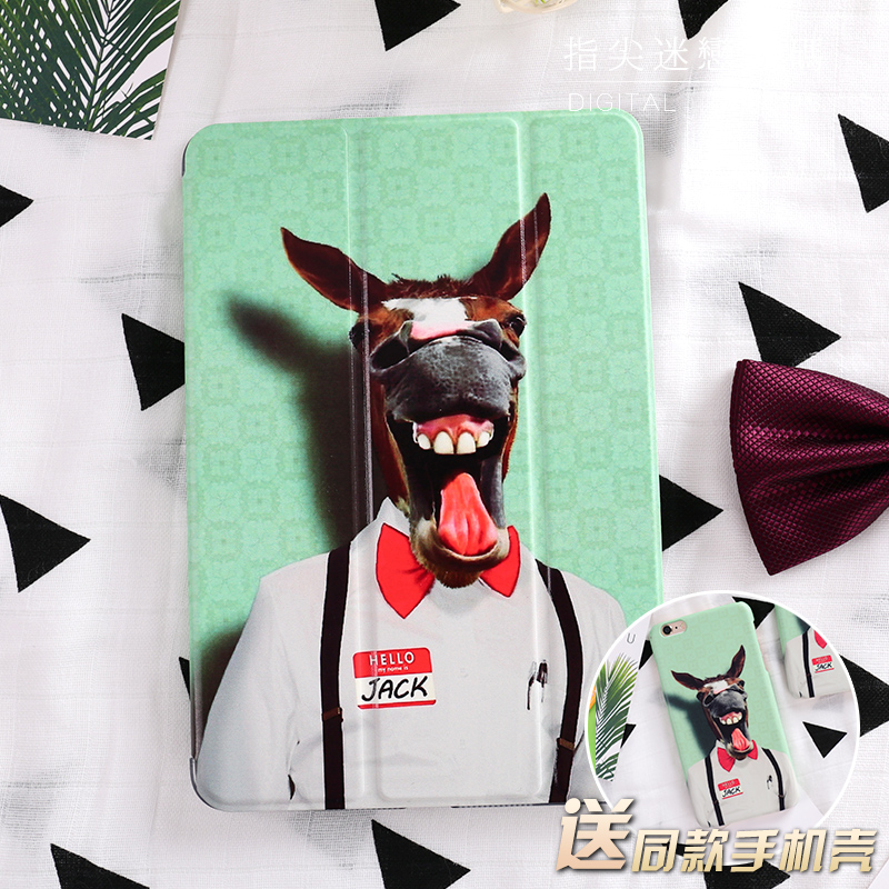 for New iPad 9.7 2017 Funny Cute Magnet Flip Cover For iPad Pro 9.7 10.5 Air Air2 Mini 1 2 3 4 Tablet Case Protective Shell