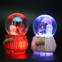 Creative Resin Cute Bear Rabbit Crystal Ball Decoration Home Bedroom Desktop Decoration Crafts Girls Christmas Birthday Gifts