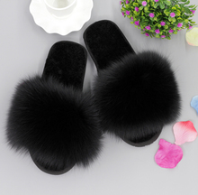 Fashion Women Indoor/Outdoor Real Fox Fur Plushed Trimed Wool Winter Slippers