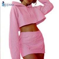 2 Pcs Set Pure Colors Grey Pink Yellow Solid Hoodies Tracksuit Women Short Skirt Hoodies Survetement