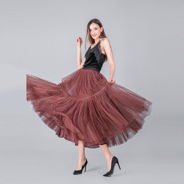 3 Colors 90 cm Runway Luxury Soft Tulle Skirt Hand-made Maxi Long Pleated Skirts Womens Vintage Petticoat Voile Jupes Falda 3
