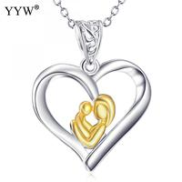 925 Sterling Silver Necklaces Heart Shape Mother And Child Design Pendants Necklace Fashion Women Jewelry Mother