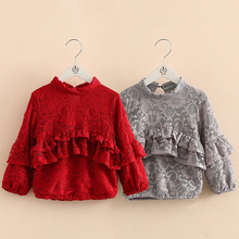 Kids Lace Bottoming Shirt 2016 New Fall Kroean Baby Girl Ruffled Pullover Top Pretty Cute Children's Clothing Full Sleeve Blouse