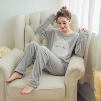 Autumn Winter Womens Pajama Sets Soft Thick Flannel Cartoon Owl O Neck Long Sleeve Pullover Pants
