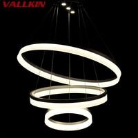 Luxury Acrylic LED Round Chandeliers Modern Kitchen Lamparas De Techo Home Lighting Suspension Luminaire Lights CE FCC VALLKIN