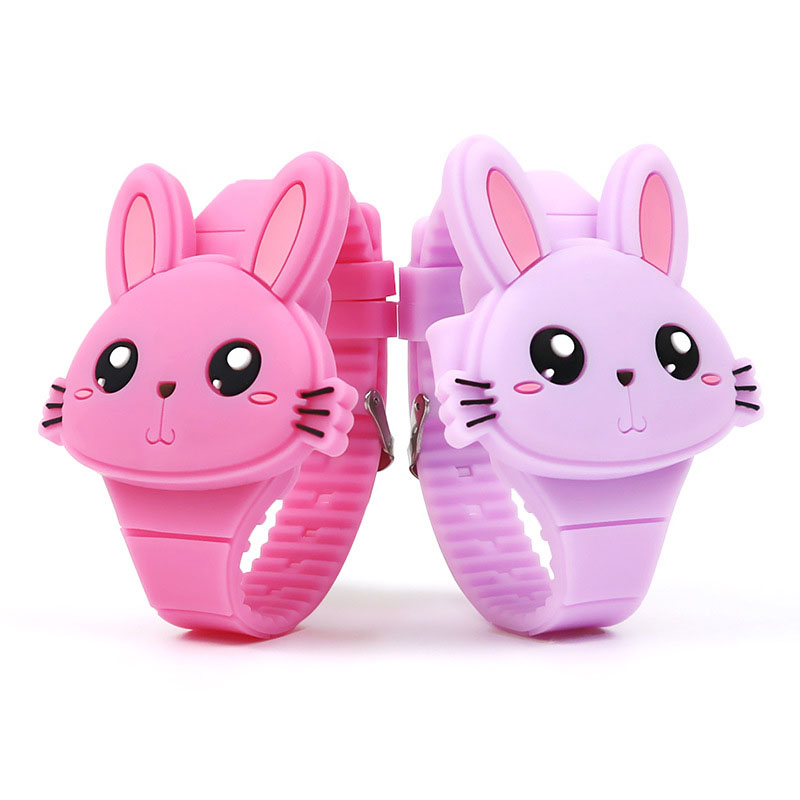 1 Pcs Kids LED Electronic Watch Silicone Band Cartoon Rabbit Flip Case Wrist Watch Lovely Gift SSA-19ING