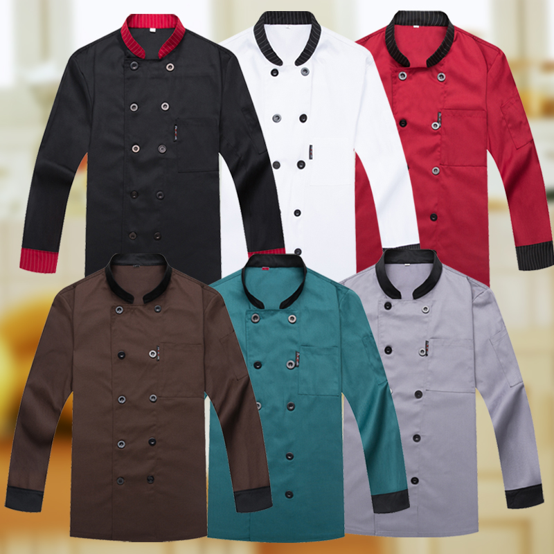 Image 5 - New Chef Jacket Hotel Restaurant Work Wear Double breasted Mens Kitchen Chef Uniform Cook Clothes Food Services Frock Coats 89-in Chef Jackets from Novelty & Special Use