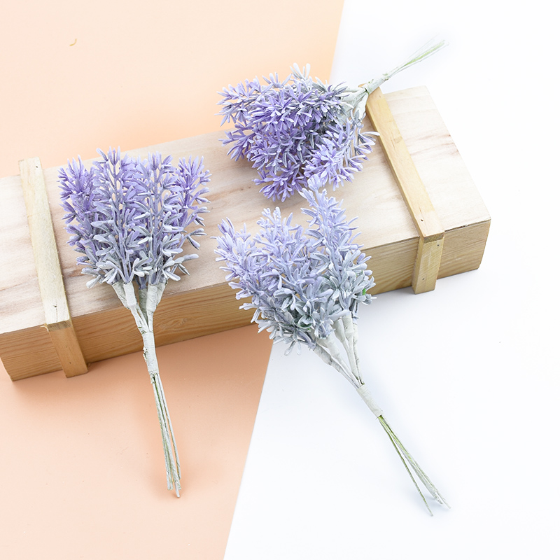 6pcs Artificial Plants Fake Lavender Decorative Flowers Wreaths Diy Vases Home Wedding Decor Scrapbooking Gifts Box Silk Flowers