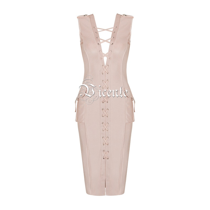 Trendy Dentelle Criss Hot New En 2019 Robe Beige Up Croix Femmes noir Embelli V Sexy Celebrity Party Vicente Poches Bandage Cou Gros xwEqYt5Xwd
