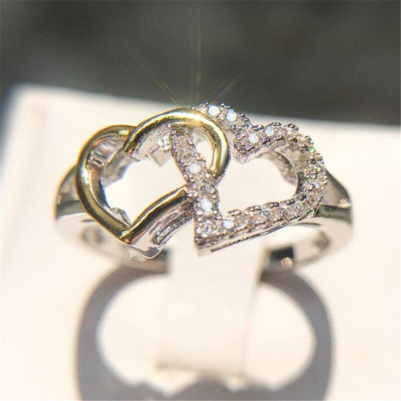 Aliexpress.com : Buy Double Love Heart AAA Zircon Rings