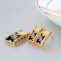 Esmaltes Cheap Fashion Jewelry Sets 18k Gold Plated Indian Luxury Jewelry Set Enamel Necklaces Pendants Earrings