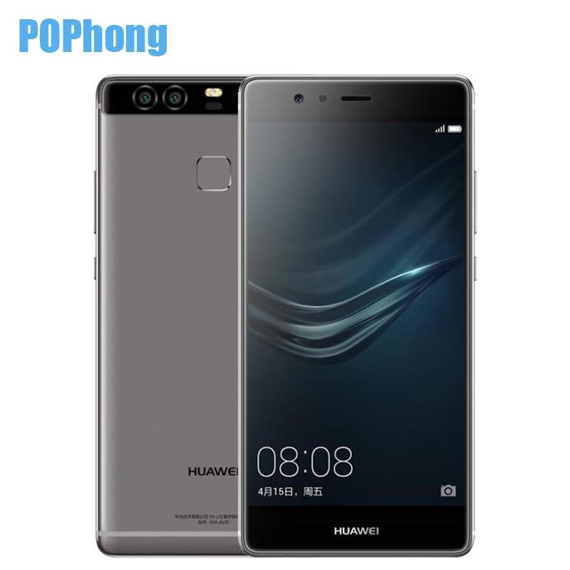 "Цена за Оригинал huawei p9 4g lte мобильного телефона кирин 955 3 г ram 32 г rom 5.2 ""FHD 1080 P Двойной Назад 12.0MP Камера Отпечатков Пальцев ID"