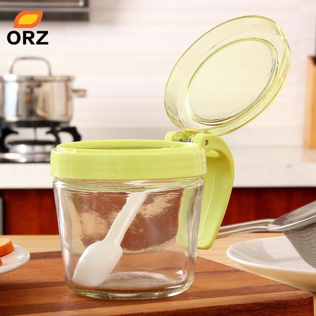 Gläser Aufbewahrungsboxen orz glas mit griff küche werkzeuge gewürzglas zuckerdose