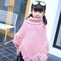 2017 осенью детская одежда девушки шерстяной свитер куртки дети бахромой шаль пальто новорожденных девочек плащ плащ мода девушки верхней одежды