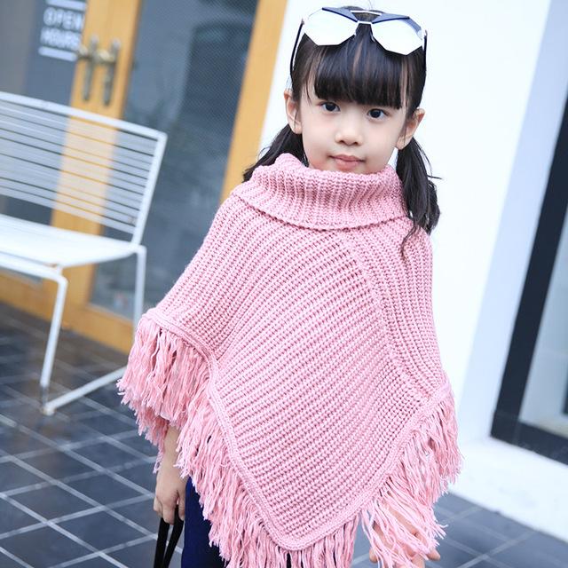 2017 otoño ropa de los niños niñas suéter chaquetas niños chal con flecos de lana bebé capa de las muchachas capa de la manera outwear el