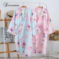 Traditional Japanese Yukata Kimono Pyjamas Suits Pajamas Sets Cotton Loose Long Robes Print Bathrobe Home Leisure