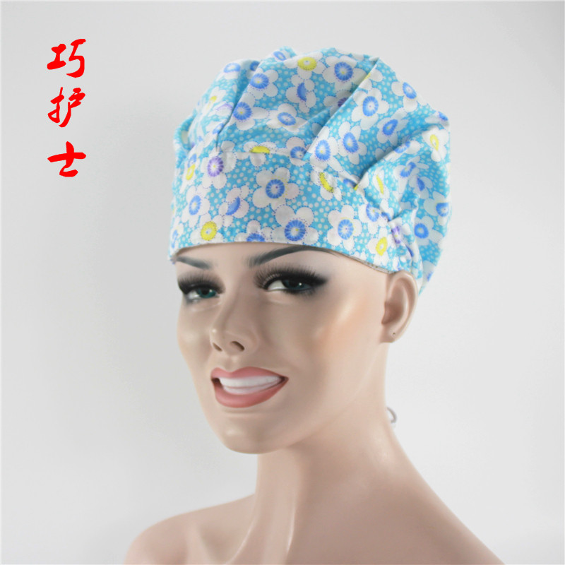 2018 Medical Scrubs Women Womansummer Thin Quality Surgical Cap Doctor Adjustable Print For Long Hair Back Color Bouffant-