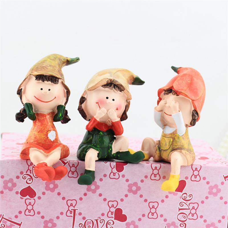 3pcs Cartoon Dolls Do Not Listen /Say/ See Three Resin Ornaments Dolls Kits Crafts Exhibits Cute Home Gift Decorations