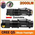 CREE q5 led flashlight 7W high power mini zoomable 3 modes waterproof glare torch 14500 /AA bicycle