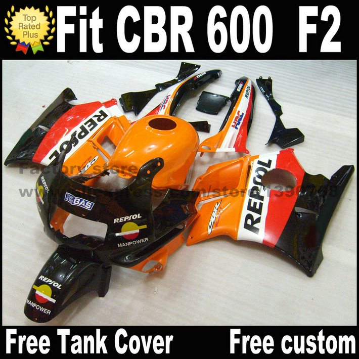 Plastic fit for HONDA CBR 600 F2 fairing kit 1991 1992 1993 1994 orange black REPSOL fairings set CBR600 91 92 93 94 AS4 fullset abs fairings kits for honda repsol orange 1993 1994 cbr600 f2 1991 1992 cbr 600 f2 92 93 cbr600 f 91 94 fairing kit tan