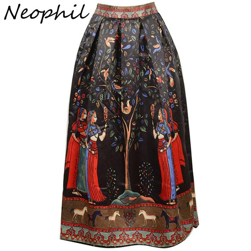 Neophil 2018 Boho Longue Ethnique Indien Floral Imprimé Maxi Femmes Jupes  Noir Blanc Satin Plissé Étage Longueur Jupe Longue MS08002 0bfb27bd054