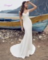 Dreagel New Arrival Illusion V-neck Mermaid Satin Wedding Dress 2017 Gorgeous Appliques Bridal Dress Vestido de Noiva Plus Size
