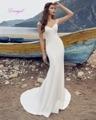 Dreagel New Arrival Illusion V-neck Mermaid Satin Wedding Dress 2017 Gorgeous Appliques Bridal Dress Vestido de Noiva Plus Size