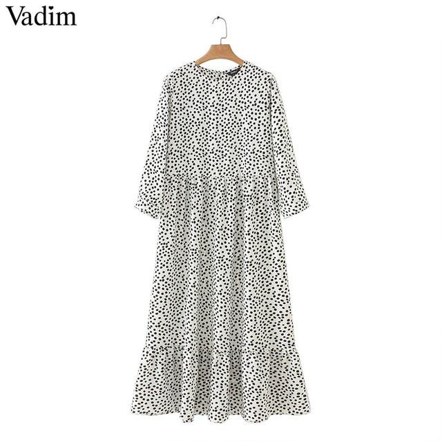 Vadim women dots print maxi dress pleated three quarter sleeve female casual straight dresses chic ankle length vestidos QB260 1