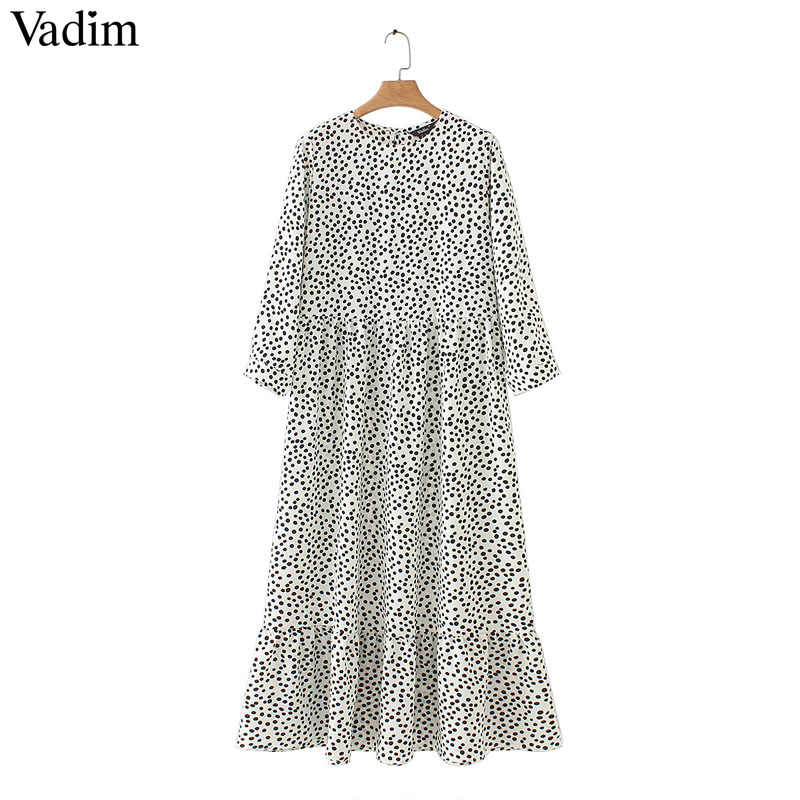 Vadim women dots print maxi dress pleated three quarter sleeve female casual straight dresses chic ankle length vestidos QB260