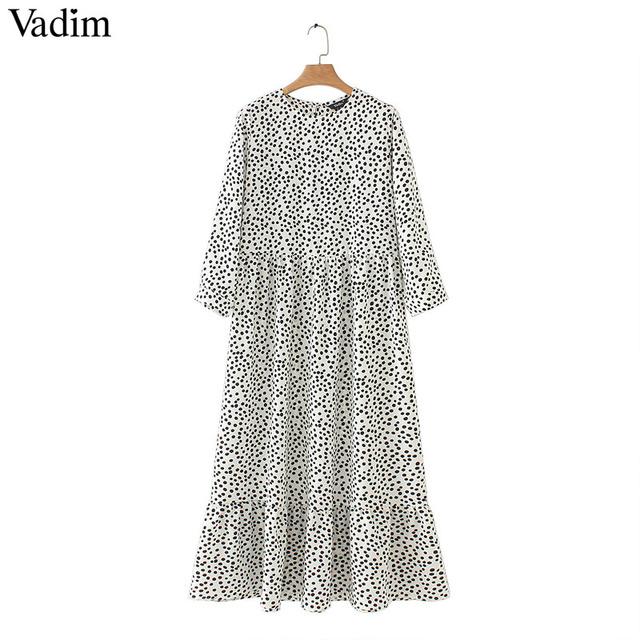 Vadim women dots print maxi dress pleated three quarter sleeve female casual straight dresses chic ankle length vestidos QB260