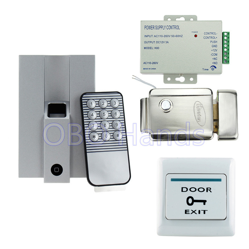 Metal fingerprint access control system kit set with electric control door lock+power supply+door switch for safety protection high quality of power box dc12v 5a for access control system kit switch electric power