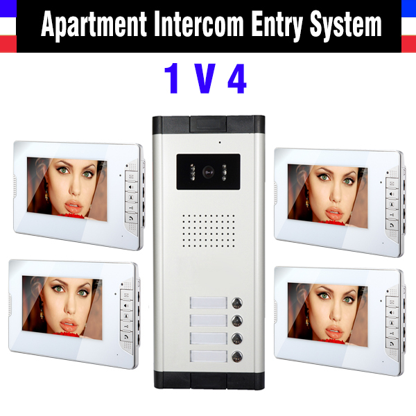 4 Units Apartment Intercom System 7 Inch Monitor Video Intercom Doorbell Kit video Door Phone night vision Camera 4 pcs Monitor apartment intercom system 7 inch monitor 6 units apartment video door phone intercom system video intercom doorbell kit