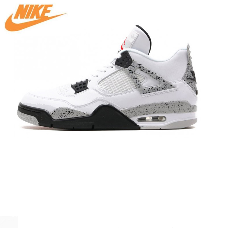 Nike Air Jordan 4 Boys Basketball Shoes Jordan 4 White Cement, Original Men's Sports Shoes 840606 192