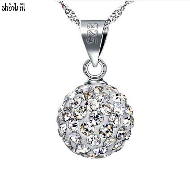 Long fitting dangling cubic zirconia ball bead silver ladies costume jewellery necklace JAeDBnRznZ