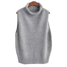 2017 Womens Roall Turtleneck Knit Vest Wool Sleeveless Pullover Fashion New Match Women Clothing Female Swaeter