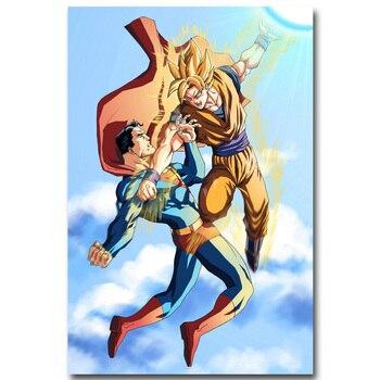Аниме плакат гобелен шелковый Сон гоку против супермена
