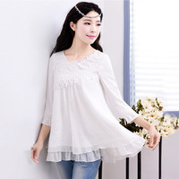 V Neck Solid White Chiffon Blouses 2017 Spring Original All Match Embroidery Lace Tops Three Quarter