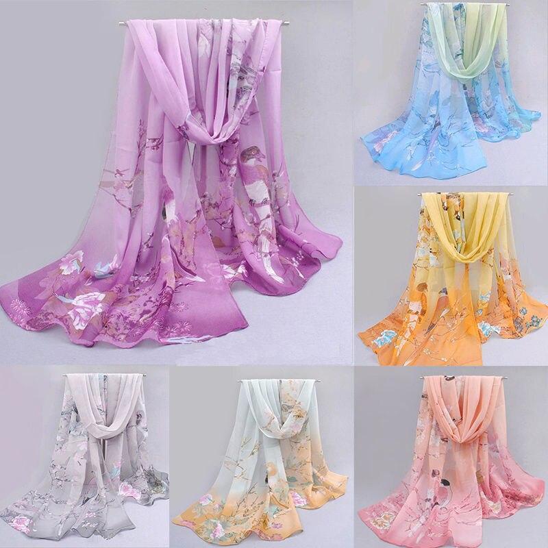 Hot Fashion Chiffon Women Ladies Floral Printed   Scarf   Neck Shawl   Scarf     Scarves     Wrap   Warm Gift Beach