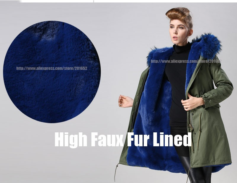 Women raccoon Winter Warm Parka high quality Faux Fur parka Hooded Coat Overcoat Tops Women's Fur Jacket 35