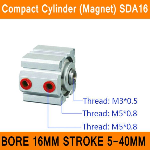 SDA16 Magnet Cylinder SDA Series Bore 16mm Stroke 5-40mm Compact Air Cylinders Dual Action Air Pneumatic Cylinder bore 16mm x 75mm stroke cj2 series mini cylinder pneumatic cylinder air cylinder with magnet