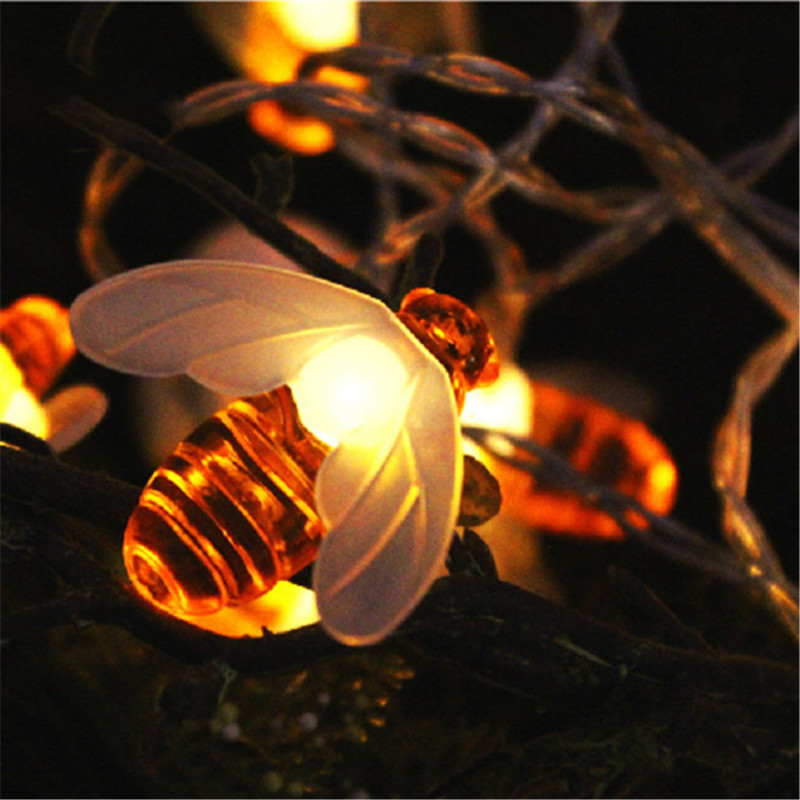 Creative Luz 20/30 LED Solar Power Panel Bee String Light Garden Outdoor Waterproof Landscape Lamp Holiday Party Garland Decor