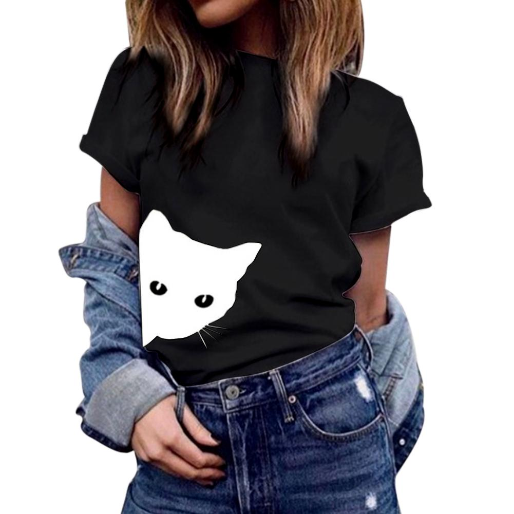 Cartoon Cat Women Tshirt Spring Summer Round neck Short Sleeve Female Casual Tees Shirts Funny Women T-Shirt Black White Gray