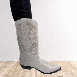 Image 4 - Top.Damet batı botları kadın sonbahar kış üzerinde kayma düz renk çizmeler sivri burun kovboy Cowgirl motosiklet botları kadın