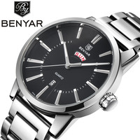 BENYAR Luxury Brand Analog Display Date Full Stainless Steel Men S Quartz Watch Dive 30M Leather