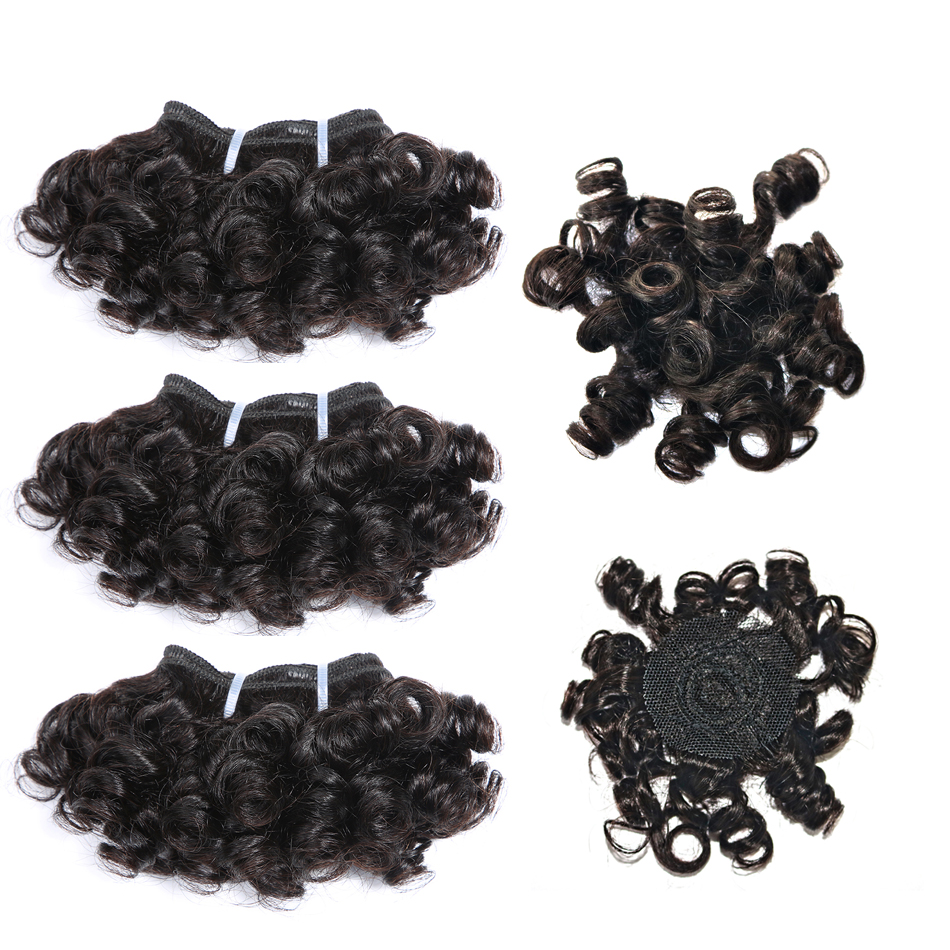 Code Calla Unprocessed Brazilian Pre Colored Raw Virgin Human Hair Double Drawn Bouncy Curly 6 PCS With Crown Closure Make A Wig