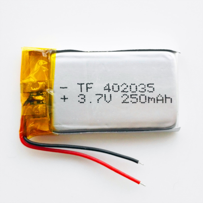 Free shipping by DHL/Fedex 100pcs 3.7V 250mAh lithium Polymer li po Rechargeable <font><b>Battery</b></font> <font><b>402035</b></font> <font><b>battery</b></font> For MP3 GPS phone image