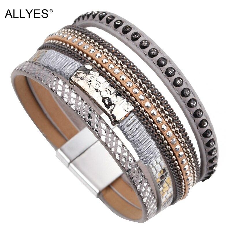 ALLYES Leather Bracelets For Women Trendy Handmade Metal Charm Rhinestone Multilayer Wide Wrap Bracelet Female Jewelry