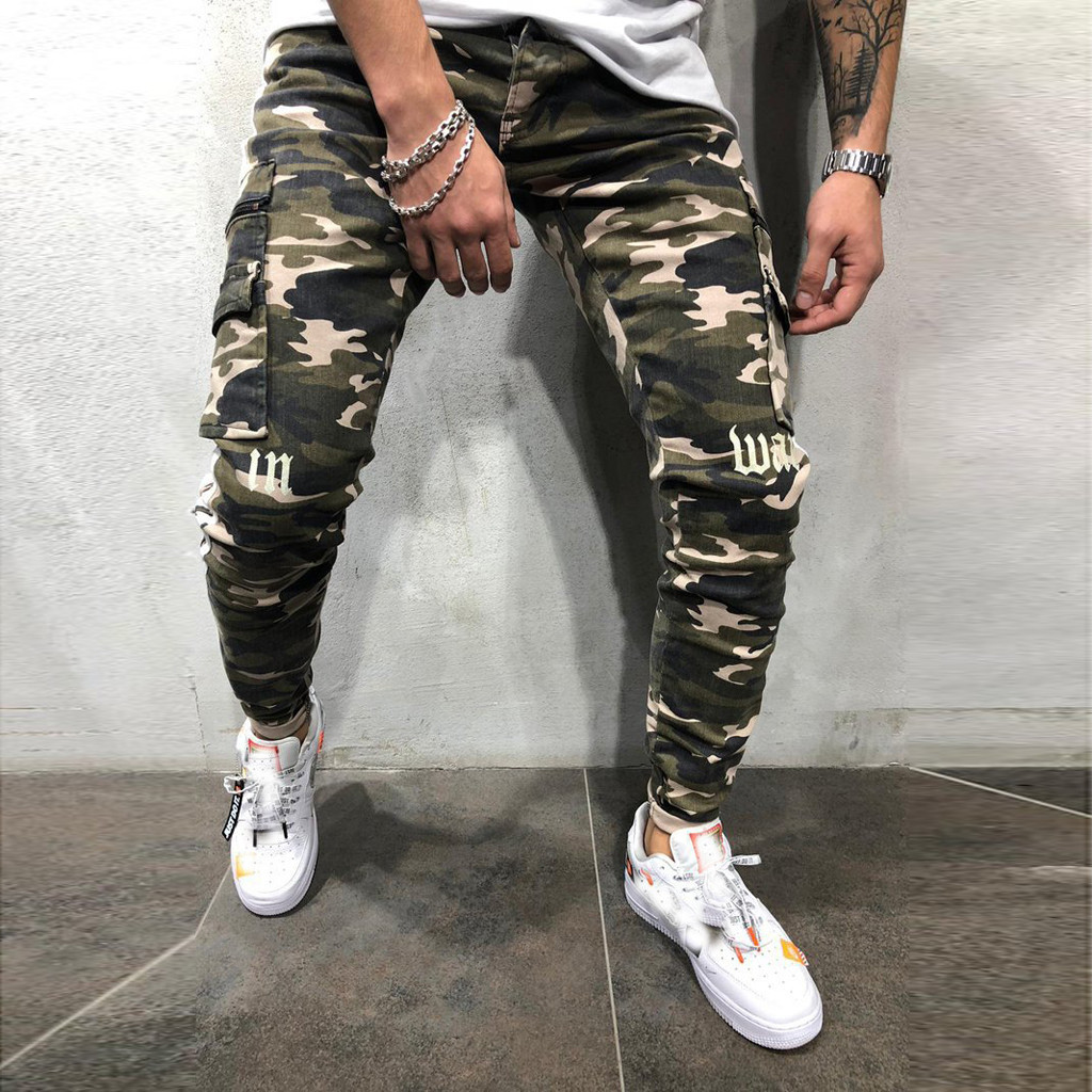 Streetwear Trousers Pant Joggers Stitching Printed Striped Camouflage Fashion Men Denim